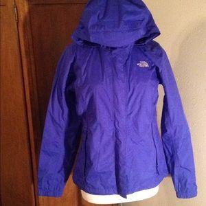 North Face blue rain jacket